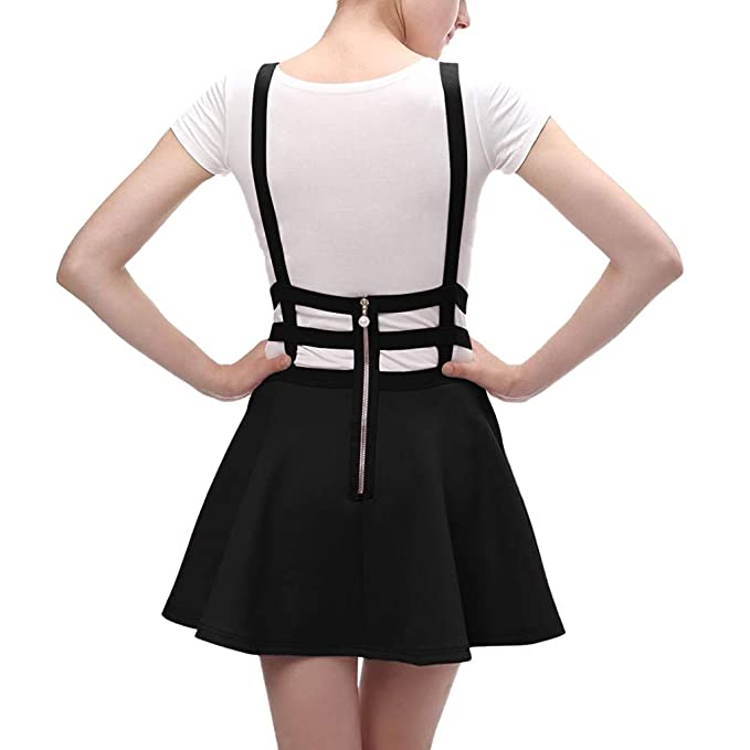 Amazon.com: Womens Solid Pleated Short Straps Mini Skirt Fashion Skirt Casual Openwork A-line Zipper Toponly: Arts, Crafts & Sewing