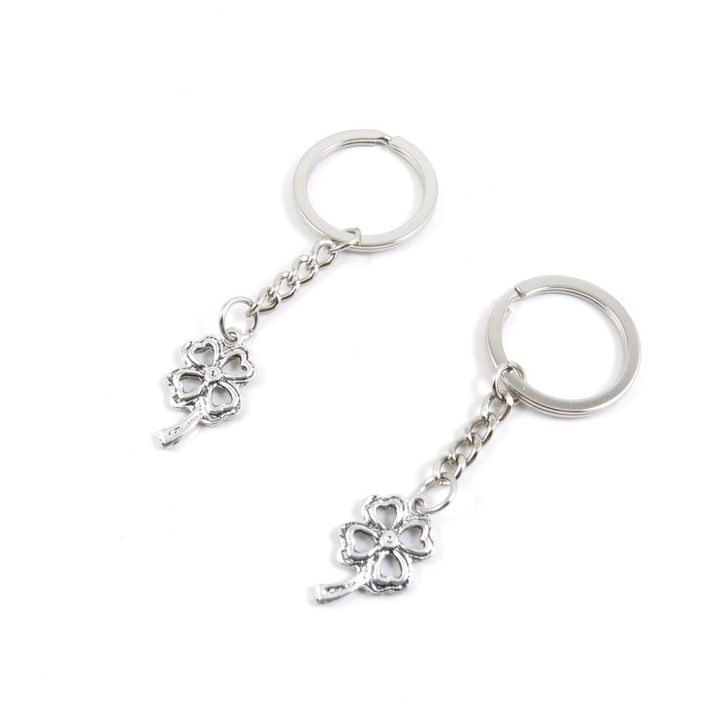 40 Pieces Keychain Door Car Key Chain Tags Keyring Ring Chain Keychain Supplies Antique Silver Tone Wholesale Bulk Lots L3AU9 Clover Leaf