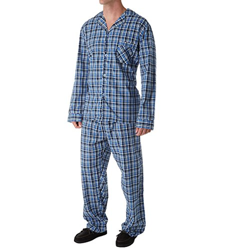 Tall Broadcloth - Hanes Tall Man Classics Broadcloth Woven Pajama Set (4016T) 2XLT/New Blue Plaid