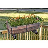 Quickway Imports Half Barrel Brown Wood Adjustable Deck Railing Planter 20-Inch