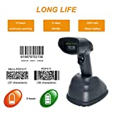 Scangle 433MHz Wireless Cradle Barcode Scanner, with USB Cradle Changing Base,1D Handheld Barcode Reader Scanning Speed up 280 Times/Second.