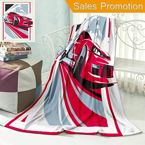 """Cars Turbo Tuning (Ailieo Unique Custom Flannel Blankets Burnout Car Japanese Drift Sport Car JDM Racing Team Turbocharger Tuning Super Soft Blanketry for Bed Couch, Throw Blanket 50"""" x 60"""")"""