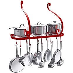 VDOMUS Wall Mount Pot Pan Rack, Kitchen Cookware Storage Organizer, 24 by 10 in with 10 Hooks, Red