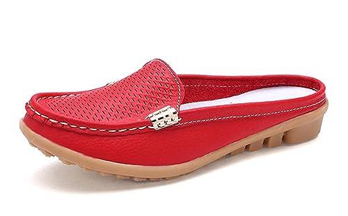 CCZZ Mujer Mocasines de Cuero Moda Casual Zapatillas Cómodo y Antideslizante Loafers Verano Zapatos del Barco Zapatos para Mujer Zapatos de Conducción: ...