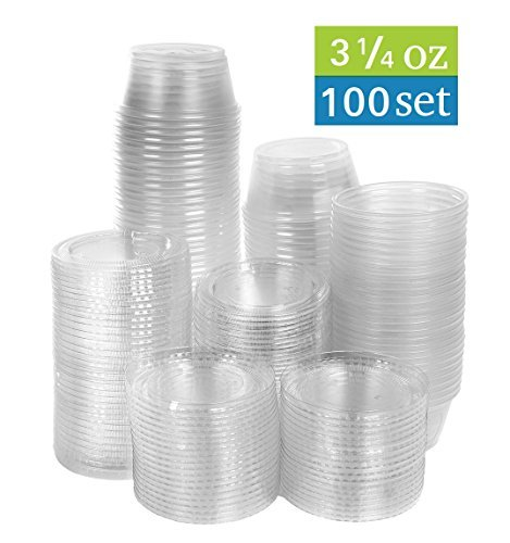 TashiBox 3.25 oz disposable portion cups with lids, set of 100 - jello shot cups, souffle cups, sampling cups, sauce cups