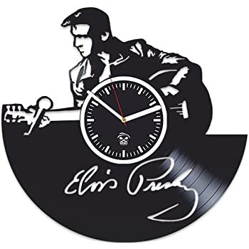 Kovides Elvis Presley Music, Vinyl Record, Silent Mechanism, Home Decor, Vinyl Wall Clock, Wall Art Sticker, Best Gift for Musician, Gift for Man and Woman, Pop Music, Elvis Presley Clock