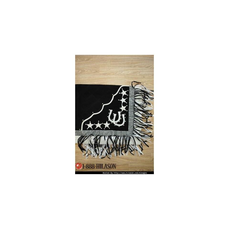 Blanket Black Body Silver Border Horse Shoes & Star Design With Black & White Fringes