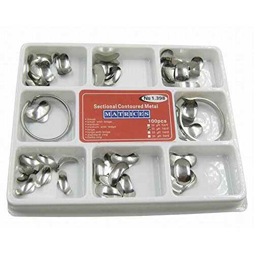 Vinmax 100pcs Dental Set of Matrix Sectional Contoured Metal Matrices No.1.398 lmws + 2 Rings