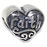 Pro Jewelry 925 Solid Sterling Silver 'Faith' Heart Charm Bead