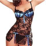 Xiaojmake Women Sexy Sleeveless Bow Lace Racy Underwear Spice Suit Temptation Underwear (XXL, Blue)