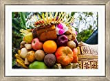 Basket of fruits and bakery items being offered at temple on holy day, Tiga, Susut, Bali, Indonesia by Panoramic Images Framed Art Print Wall Picture, Silver Scoop Frame, 38 x 28 inches