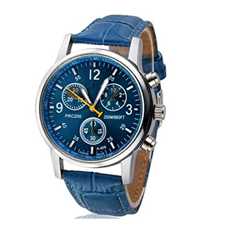 Qisc Mens Analog Quartz Wrist Watch - Classic Casual Watch With Blue Large Face Watches For Men - Round Get Face How To