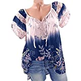 Spinning Tops Women Print Lace Plus Size V-Neck Tie Loose Tunic Blouse Tops T-Shirt