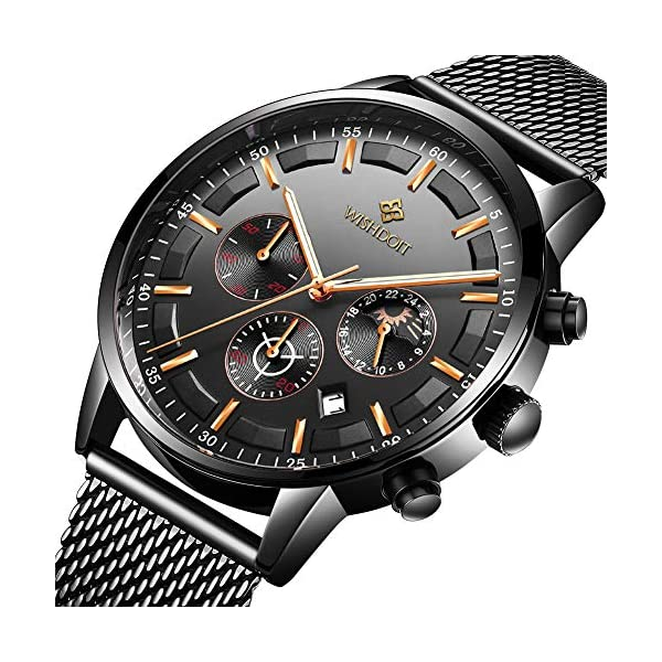 Men's Watches Fashion Analog Quartz Watch Date Business Chronograph Dress Luxury Brand Black Leather Wristwatch Gents Sport Waterproof Wristwatch 14