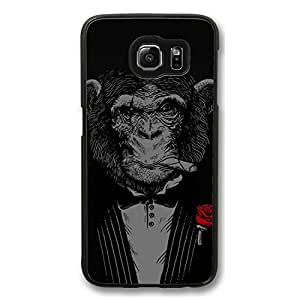 Galaxy S6 Case, S6 Cases, VUTTOO Customize Handsome Monkey Shock Absorption Bumper Case Protect S6 Hard PC Black Case Cover for Samsung Galaxy S6