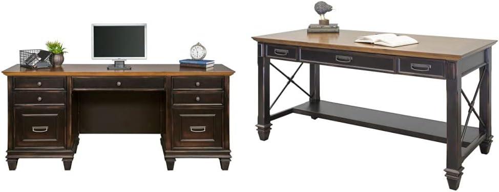 Martin Furniture Hartford Credenza, Brown - Fully Assembled & Furniture Hartford Writing Desk, Brown