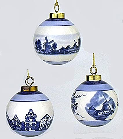Set of 3 Delft Ball Christmas Ornaments - Amazon.com: Set Of 3 Delft Ball Christmas Ornaments: Home & Kitchen