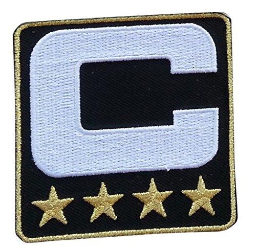 Black Captain C Patch (4 Gold Stars) Iron On for Jersey Football, Baseball. Soccer, Hockey, Lacrosse, Basketball]()