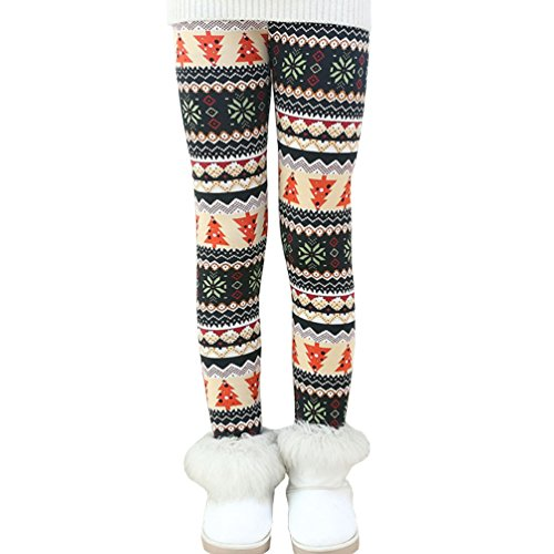Rysly Girls Winter Thick Warm Long Pants Printing Fleece Lined Leggings 140 Christmas Tree