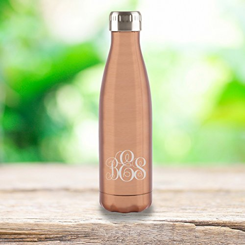 Personalized Copper Stainless Steel Double Wall Insulated Water Bottle - Interlocking Monogram Font -