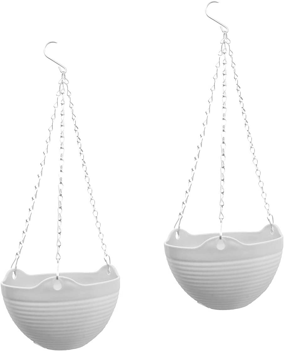 YIKUSH 2 Pack Hanging Flower Planter Pots with Chain for Indoor Outdoor Home Decoration – 7.87×7.87×5.1inch, White
