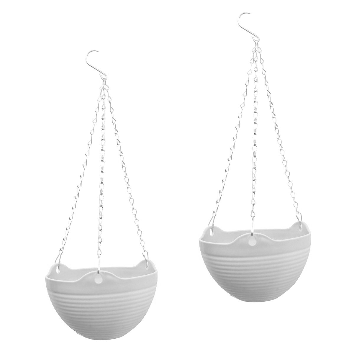Yikush 2 Pack Hanging Flower Planter Pots with Chain for Indoor Outdoor Home Decoration - 7.87x7.87x5.1inch, White