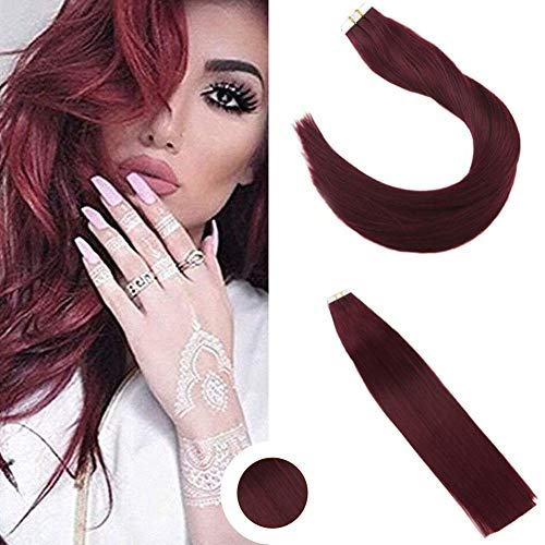 (Ugeat 24inch Invisiable Tape Hair Extensions Red Wine Color #99J PU Skin Weft Human Hair Real Human Hair Tape in Hair Extensions 50Gram 20Pcs)