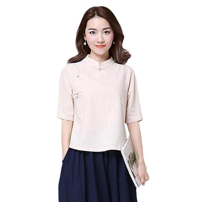Hzjundasi Verano Retro Estilo chino Manga 3/4 Camisa Folk-custom Suelto Lino Tops Blusas: Amazon.es: Ropa y accesorios