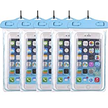 5Pack Blue Universal Waterproof Phone Case Dry Bag CaseHQ for iPhone 4/5/6/6s/6plus/6splus Samsung Galaxy s3/s4/s5/s6 etc. Waterproof, Dust Dirt Proof, Snow Proof Pouch for Cell Phone up to 5.7 inches