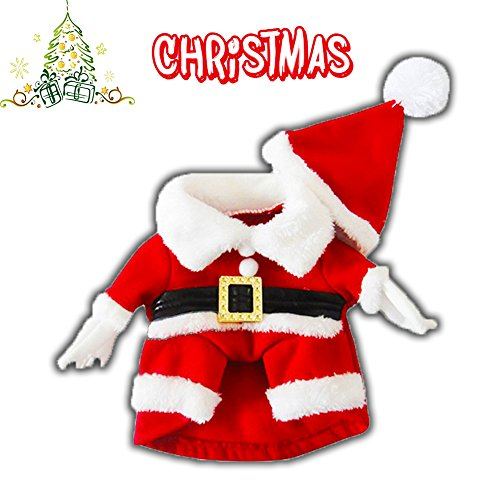 Delifur Pet Christmas Costumes with Hat Dog Santa Costume Dog Xmas Costume for Small Dog Cat Puppy (S) ()