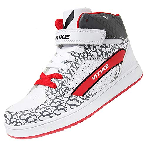 792e5eda2f55a WETIKE Girls Sneakers High Top Big Little Kids Shoes for Boys Skate Shoes  Youth School Sports Athletic Running Walking Casual Shoes White Leather