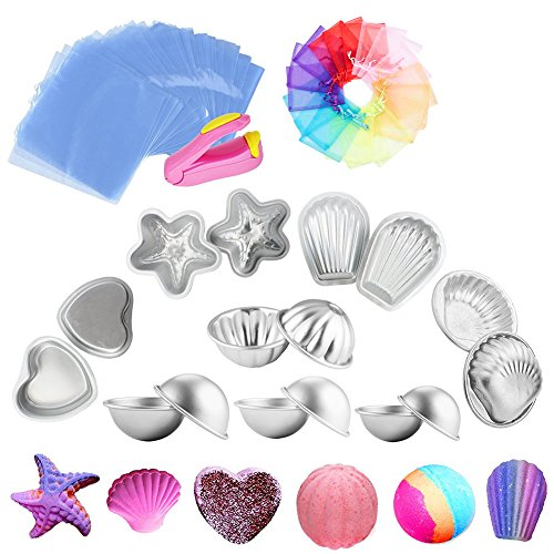 Handrong Metal Bath Bomb Mold 16pcs, DIY Starfish Heart Flower Hemispheres Shell Scallop Shape, with 200 Shrink Wrap Bags 10 Organza Bag 1 Mini Heat Sealer, for Crafting Your Own (Hemisphere Sheet Mold)