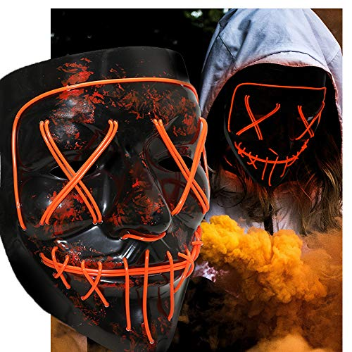 Halloween Scary Mask Cosplay Led Costume Mask EL Wire Light up Purge Mask for Halloween Festival -
