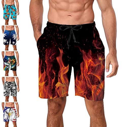 Freshhoodies Swimming Trunks for Men Teen Boys Flame Fire 3D Pattern Bathing Suit Beach Swimwear Shorts Boardshorts Prime (Fire, -
