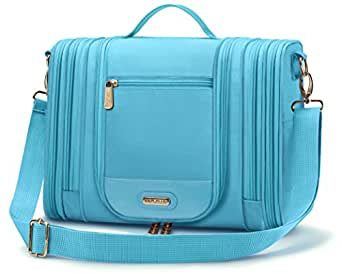 Water Resistant Hanging Travel Toiletry Kit with TSA Approved Clear Bag, Toiletries Organizer Case for Men and Women by Mr. Sleek (Blue)