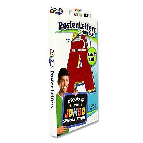 ArtSkills Jumbo Poster Letters and Numbers, A-Z and 0-9, Assorted, Holographic Colors, 108-Count (PA-1462) Photo #2