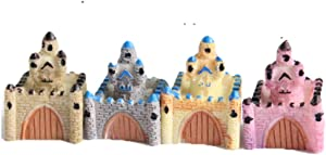 4pcs Mini Castle Figurines Miniature Castle Figurines Fairy Garden DIY Terrarium Crafts Moss Landscape Ornament Plant Pot Craft Dollhouse Decoration