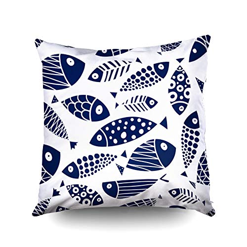 ROOLAYS Decorative Throw Square Pillow Case Cover 16X16Inch,Cotton Cushion Covers Halloween Cute Fish Kids Background Pattern Both Sides Printing Invisible Zipper Home Sofa Decor Pillowcase