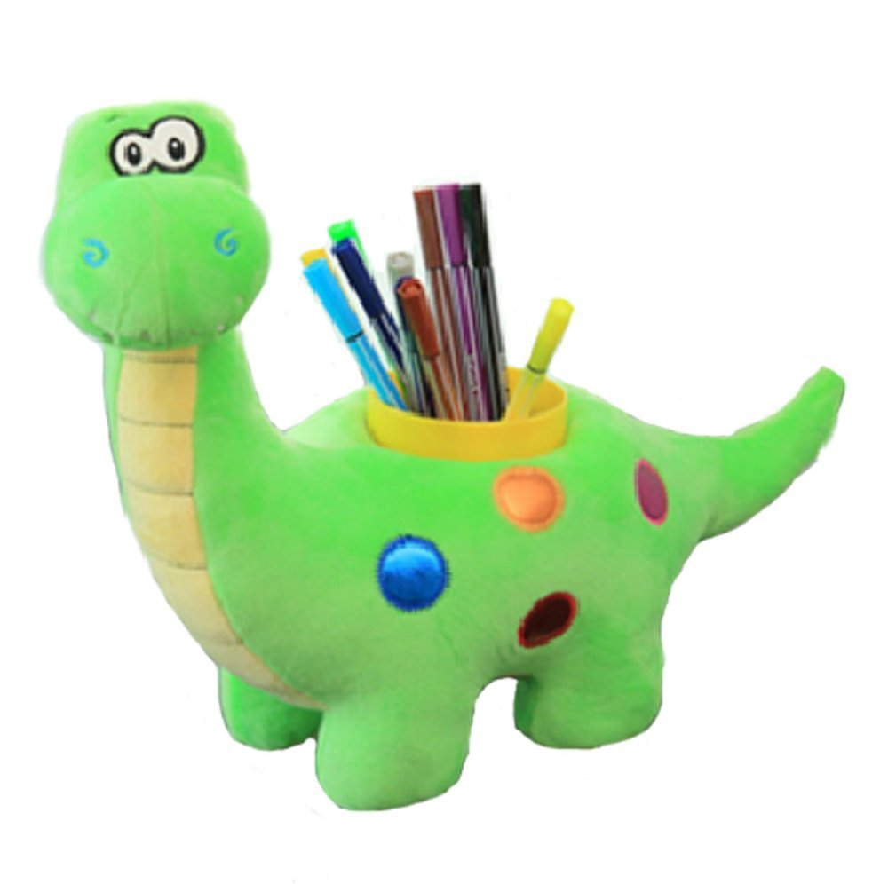 Cute Cartoon Plush Pen Pencil Holder Desktop Cosmetic Brush Holder Office Supplies Storage Organizer (dinosaur)