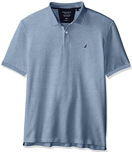 Nautica Men's Standard Classic Short Sleeve Solid Polo Shirt, Deep Anchor Heather, Small