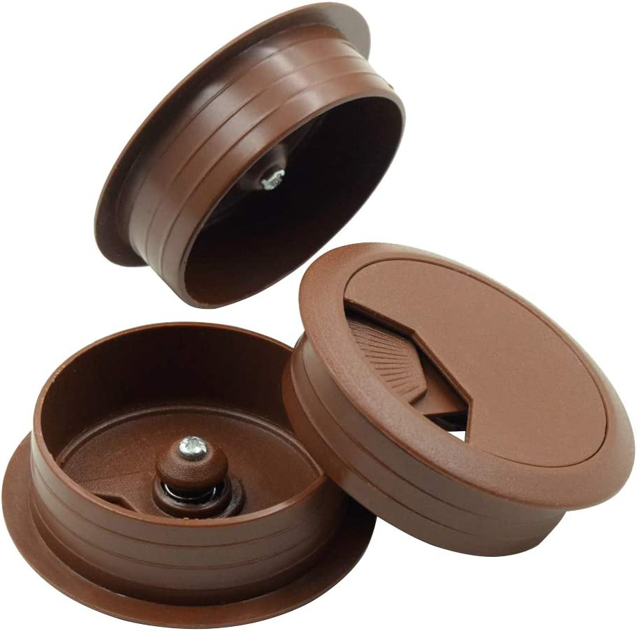 2 Pack Cyful Metal Round Computer Desk Grommet Wire Cable Hole 50mm for Home and Office Red Bronze