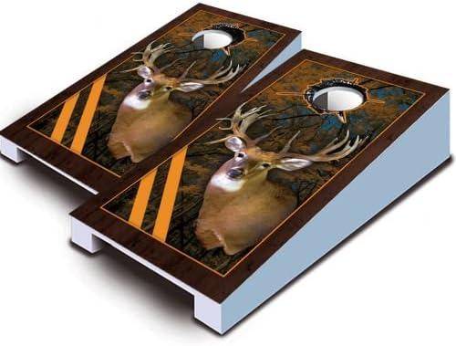 Buck Deer 白いtail Hunting TabletopデスクトップCornholeボードゲームセットBeanバッグTailgate Toss Miniミニチュア