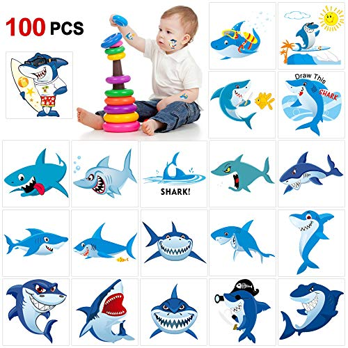 (Shark Temporary Tattoos(100pcs),Konsait Shark Tattoo Body Stickers Costume Accessories for Ocean Sea Shark Themed Baby Shower Birthday Party Favor Supplies Decor for Boy Girls Kids Party Bag)