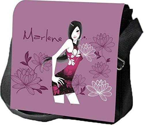 Schultertasche Umhängetasche Handtasche personalisiertes Geschenk Dame Tussi Blume Pflanze Party