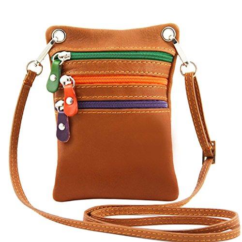 Violeta Piel Unisex Leather Tuscany Suave en TLBag Cognac Bolsillo xwSgn4qfT