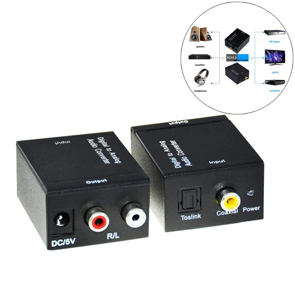 Alian HDMI Coaxial Digital Optical Fiber to Analog Audio Left and Right Sound Channel Converter Power Supply + Fiber Optic Cable