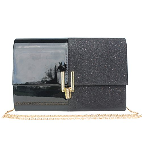 - Womens Glitter Evening Clutch Bag Purse for Wedding Party .(Black)