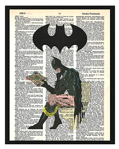 Signature Studios Superhero Batman Print Justice League DC Comics Superhero Dictionary Print Batman on Toilet Bathroom Humor 8x10 Print