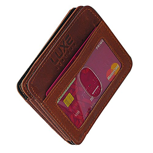 Luxe Leather Slim Minimalist Wallet for Men – New & Secured RFID Blocking Card Sleeve Front Pocket Wallet -