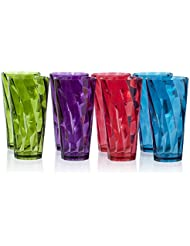 Optix 26-ounce Multi Color Plastic Cup Tumbler | set of 8 in 4 Assorted Colors